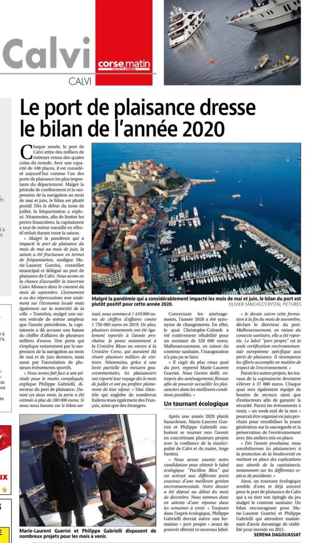 Le port de plaisance de Calvi est dans Corse Matin !